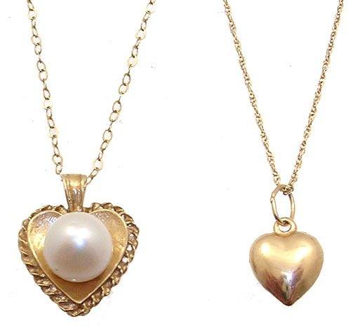 2281: 14/10KY Grandmom & baby heart necklace