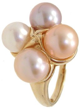 2282: 14KY 7mm Natural 4 Pink Peach Pearl ring