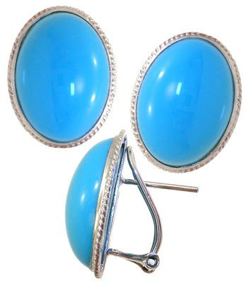 2284: 14KW Persian Stabilized Turquoise lg earring