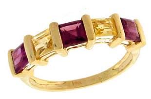 14KY 1.61ct Garnet Citrine Princess Ring