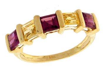 2285: 14KY 1.61ct Garnet Citrine Princess Ring