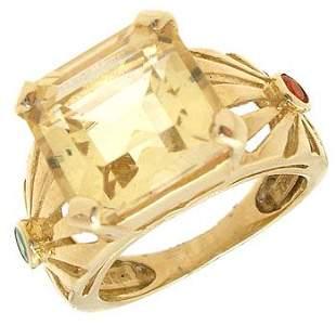 14KY 2ct Citrine ecut Emerald Fire Opal ring