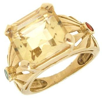 2286: 14KY 2ct Citrine ecut Emerald Fire Opal ring