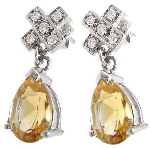 14KW 2.76cttw Citrine diamond X earring