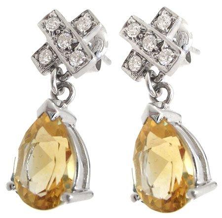 2287: 14KW 2.76cttw Citrine diamond X earring