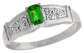 2289: 14WG .32ct Tsavorite Garnet Diamond ring