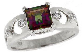 2291: 14KW 1.40ct Mystic topaz princess .05dia ring