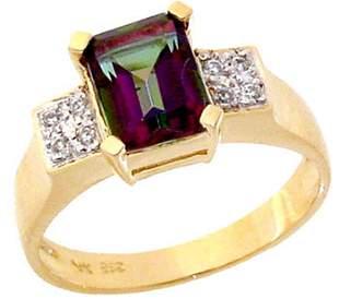 14KY 2ct Mystic Topaz ecut .07 Diamond ring