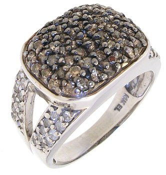 2296: 14KW 1cttw Chocolate & White diamond ring