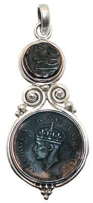 Sterling Indian George coin pendant