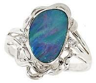 2459: WG 1.51ct Boulder opal bezel diamond ring