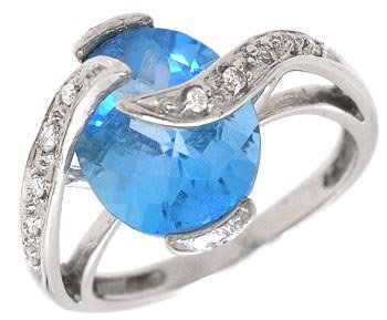 3254: 14KW 2ct Blue Topaz Diamond crossover ring