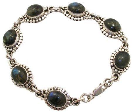 3258: SSilver Labradorite bracelet