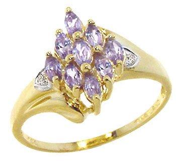 3259: 14YG Tanzanite Diamond marq cluster ring