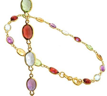 3264: 18KY 4cttw Mulit gem oval bracelet 7inch