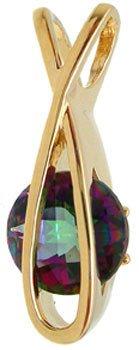 3277: 14KY 3 ct Mystic topaz designer fish pendant