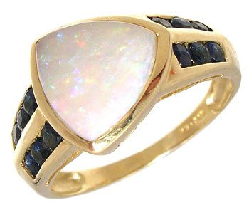 3281: 14KY Opal trillion channel Sapphire ring