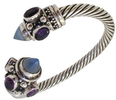 4006: Twisted silver amethyst and moonstone bracele
