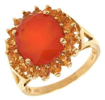 4013: 14KY 2ct Mexican Fire Opal Citrine ring