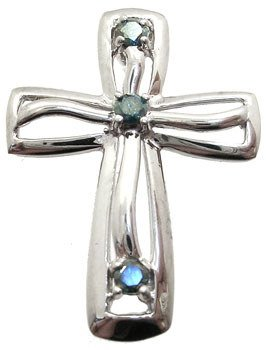 4016: 14WG 1/7ct Teal Diamond cross pendant
