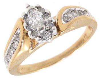 4017: 10KY .25ct Diamond mq dia ring