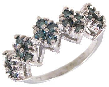 4018: 14WG .50ct Teal Blue Diamond band Ring