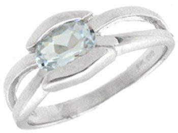 4019: 14KW .50ct Aquamarine oval bezel band ring