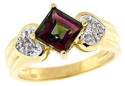 4134: 14KY 1.50ct Mystic topaz princess dia ring