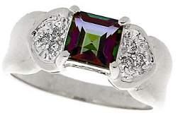 4204: 14KW 1.50ct Mystic topaz princess dia ring