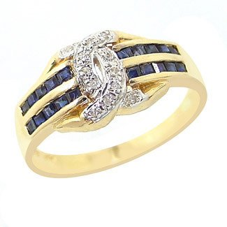 251: .85ct sapphire channel diamond band ring