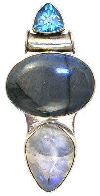 254: SSilver Moonstone labedorite blue topaz pend