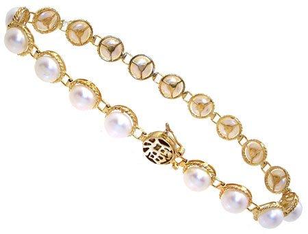 257: 14KYG 6mm White Pearl 7inch Bracelet
