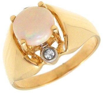 259: .35ct opal .03 diamond ring