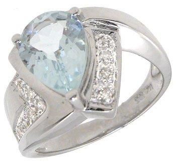 263: 14KW 1.50ct aquamarine pear diamond pavé ring