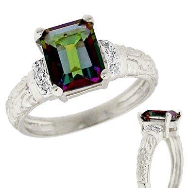 265: 14WG 3ct Mystic Topaz .04 dia floral ring