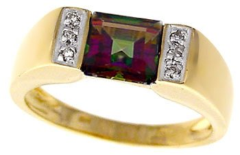 266: 14KY 1.35ct Mystic topaz princess dia ring