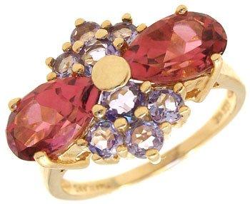 269: 14KYG 2.5 cttw Pink tourmaline & tanzanite ring