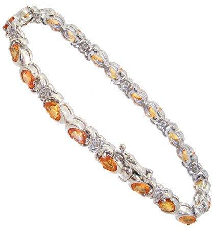 415: WG 7.65cttw Golden Sapphire .35dia bracelet