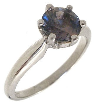 1250: 14WG .84ct Color Change Sapphire Solitaire Ring