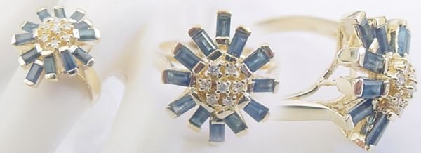 1252: 1.75ct sapphire bagguette diamond spray ring