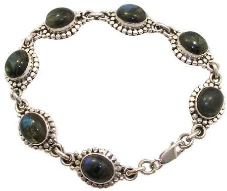 1254: SSilver Labradorite bracelet