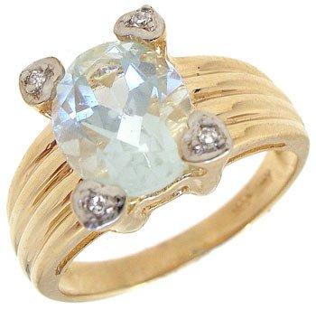 1264: 14KY 1.88ct Aquamarine oval diamond prong set