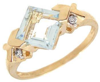 1265: YG 1ct Aquamarine Princess Dia Ring