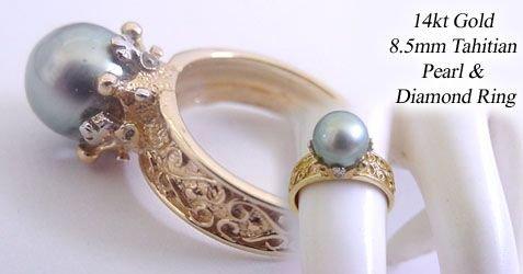 1268: 14KY 8.5mm Tahitian pearl Dia mini crown Ring