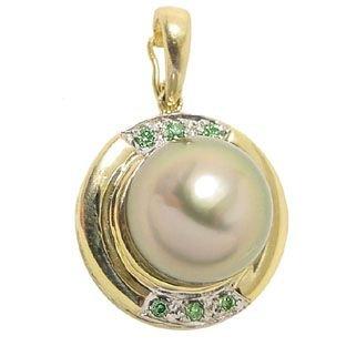 1269: 14KY 10.5/11m Tahitian pearl .08green dia pendant
