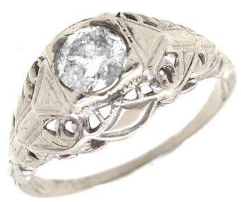 1270: 14KW .30ct Diamond estate filligree ring
