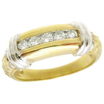 1271: 14KY .20 ct diamond engraved ladies band ring