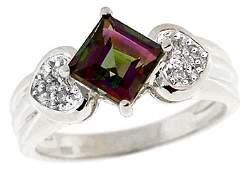 1304: 14KW 1.50ct Mystic topaz princess dia ring