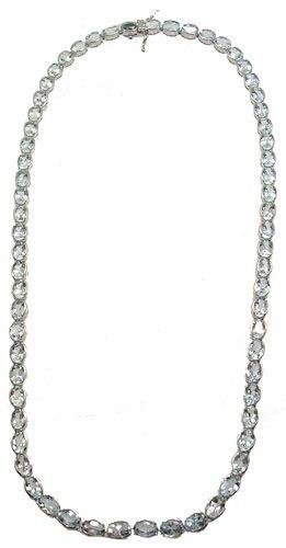 1363: WG 26ct Aquamarine Oval Necklace