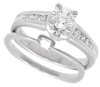 1392: Platinum .75cttw NICE Diamond 2pc wed ring
